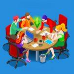 Business team collaborating at a circular table.