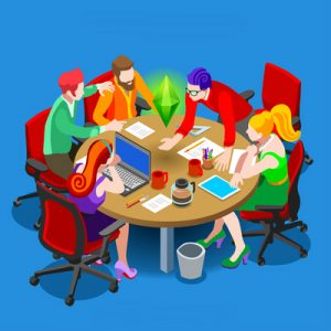 Business team collaborating at a circular table.