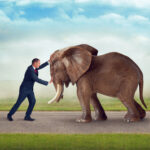 business man challenge as big as an elephant