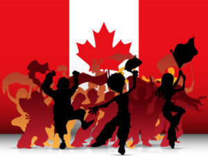 Canadian Flag with Dancing Crowd Carol Ring Corporate Culture Speaker